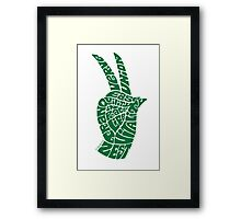 Life Force Hand in Bright Emerald Framed Print