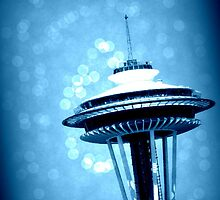 Space Needle in Blue by DesignsbyAngela