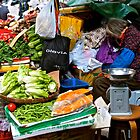 market scene in Hong Kong lady selling fruit and vegetables by LoveDutchArtEbs