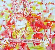 KURT COBAIN playing LIVE - watercolor portrait by lautir