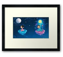 Little babies flying in the night Framed Print