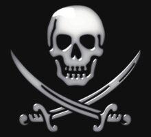 Glassy Pirate Skull & Sword Crossbones  by Gravityx9