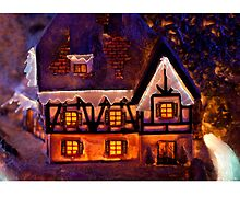 Christmas card with house chalet by Cheryl Hall
