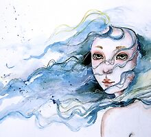 """Lily"" Surreal Watercolor Portrait by Juliette Vaissiere"