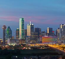 Dallas Skyline Image taken in the evening by RobGreebonPhoto