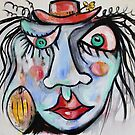 Blue Lady With Green Eyes And Red Hat by Reynaldo