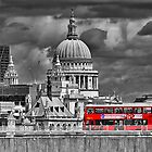 The Red Bus And Saint Pauls Cathederal London by Colin J Williams Photography