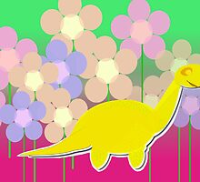 Cute Cartoon Dinosaur Yellow Diploducus Color Flowers by cutecartoondino