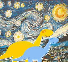 Cute Cartoon Dinosaurs looking at a Starry Night Painting Landscape by cutecartoondino