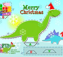 Cute Green Cartoon Dinosaur Christmas Cut & Paste Paper Craft by cutecartoondino