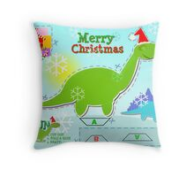 Cute Green Cartoon Dinosaur Christmas Cut & Paste Paper Craft Throw Pillow