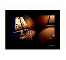 Antique Lamp Reflection In The Mirror Art Print