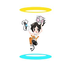 Portal - Chell and Companion Cube by chocominto