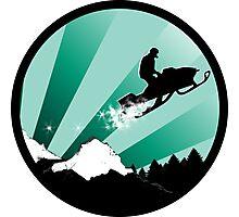 snowmobile : powder trail Photographic Print