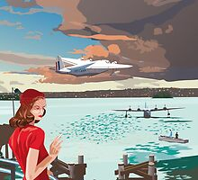 Rose Bay and flying boats, 1945 by contourcreative
