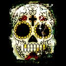 Day of the Dead Sugar Skull Grunge Design by Val  Brackenridge