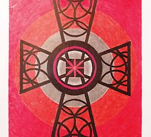 Red and Black Celtic Cross by Janette Oakman