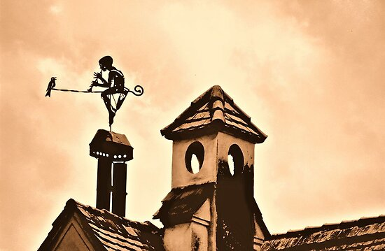 Chimney Ornament with Flutist and Bird by ivDAnu
