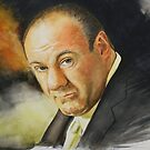 Watercolour Tribute of James Gandolfini (1961 - 2013) by Jan Szymczuk