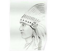 Native American - Pencil Portrait Poster