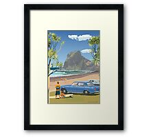 Piha New Zealand with Surfers 1969 Framed Print