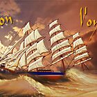 Cutty Sark in Heavy Seas - Bon Voyage invitation by Dennis Melling