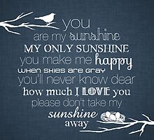 You Are My Sunshine – Nest – Square – Denim  by Janelle Wourms