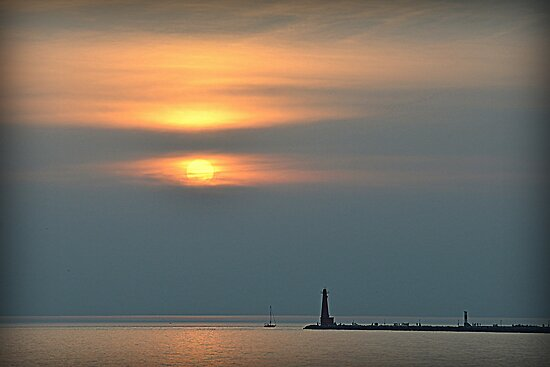 Lake Michigan Sunset on a Humid Day by BarbL