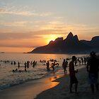 Ipanema Beach at Sunset, Rio de Janeiro, Brazil by ibadishi