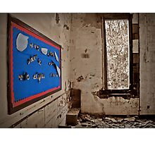 A Message Of Cheer Shining On An Empty Room Photographic Print