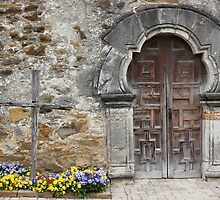 Espada Doorway and Cross by marybedy