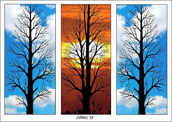 THREE TREES IN A ROW by RainbowArt