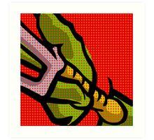 Lichtenstein Pop Martial Art Quelonians   Red Art Print
