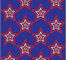 July Star - Red White and Blue Digital Print by WayfarerPrints