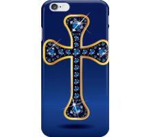 Christian Cross in Gold with Sapphire Stones iPhone Case/Skin