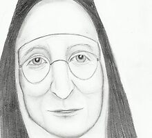 Nun Wearing Glasses - Pencil Portrait by Janette Oakman