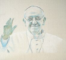 Pope Francis in pastel on calico by Veronica Brandt