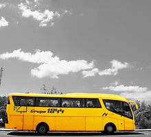 Big Yellow Bus Black and White  by adam9596