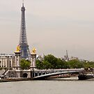 Eiffel Tower - Tour Eiffel with Pont D'Alexandre and the Seine by Buckwhite
