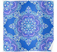 Ornate blue waves pattern Poster