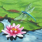 Dragonfly & Waterlily by Lynne  Kirby