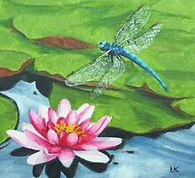Dragonfly & Waterlily by Lynne  M Kirby BA(Hons)