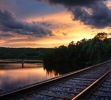 Sunset on the Huron River, Huron Bridge Park, Ann Arbor  by DArthurBrown