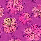Purple ornate doodle flowers pattern by 1enchik