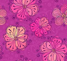 Purple ornate doodle flowers pattern by 1enchik