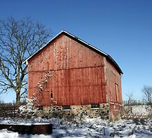 WINTER RED BARN by Spiritinme
