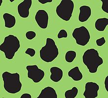 Animal Print Fur Skin Cow Green, Black by sitnica