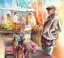 France - Wine Vendor in A Provence Market by Goodaboom