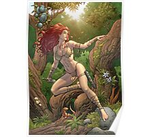 Redhead Cavewoman in Jungle by Al Rio Poster