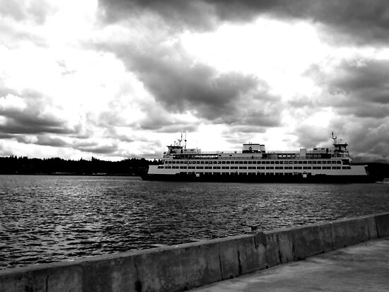 Ferry to Seattle - Black and White by RdwnggrlDesigns